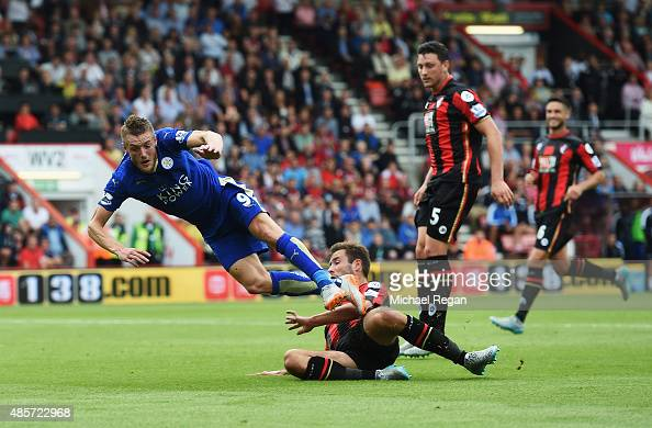 Steve Cook of Bournemouth fouls Jamie Vardy of Leicester City resulting in a penalty during the Barclays Premier League match between AFC Bournemouth...