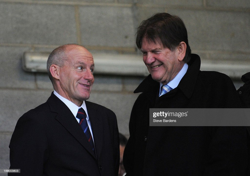 <a gi-track='captionPersonalityLinkClicked' href=/galleries/search?phrase=Steve+Coppell&family=editorial&specificpeople=661156 ng-click='$event.stopPropagation()'>Steve Coppell</a> (L), Director of Football at Crawley Town talks to Reading Chairman John Madejski prior to the FA Cup with Budweiser Third Round match between Crawley Town and Reading at Broadfield Stadium on January 5, 2013 in Crawley, West Sussex.