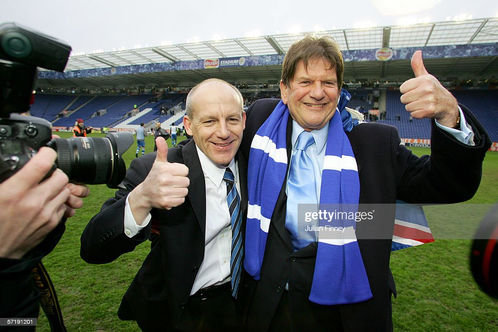 Steve Coppell manager and John Madejski chairman of Reading celebrate after gaining promotion to the premiership after the CocaCola Championship...