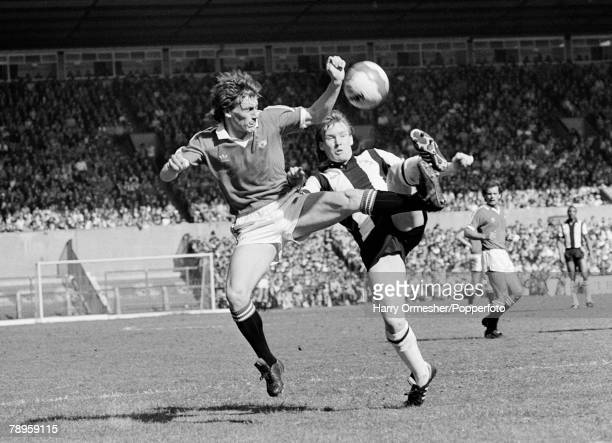 18th April 1981 Old Trafford Manchester Manchester United 2 v West Bromwich Albion 1 Manchester United's Steve Coppell goes fully committed into this...