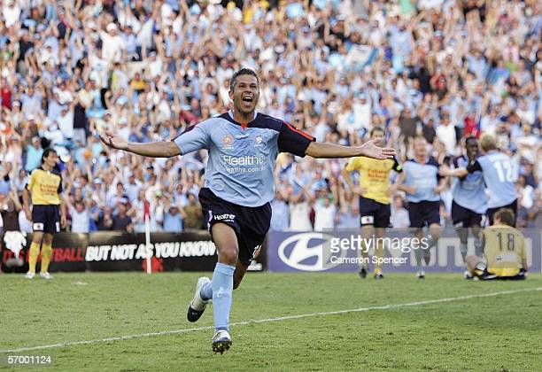 Steve Corica of Sydney FC celebrates scoring a goal during the Hyundai ALeague Grand Final between Sydney FC and the Central Coast Mariners at Aussie...