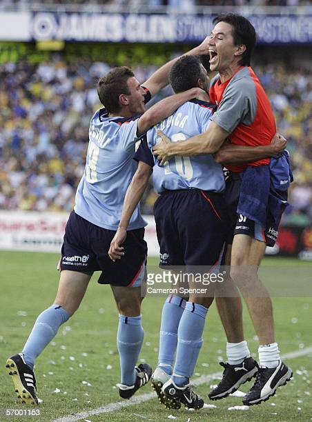 Steve Corica of Sydney FC celebrates scoring a goal with team mates during the Hyundai ALeague Grand Final between Sydney FC and the Central Coast...
