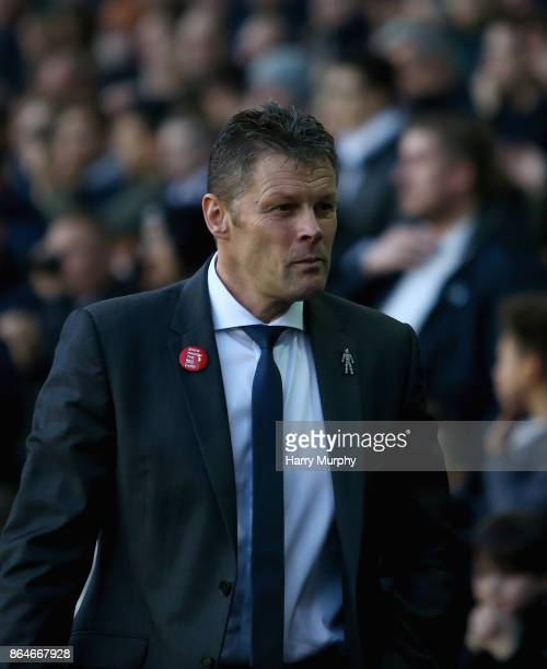 Steve Cotterill Manager of Birmingham City looks on prior to the Sky Bet Championship match between Millwall and Birmingham City at The Den on...
