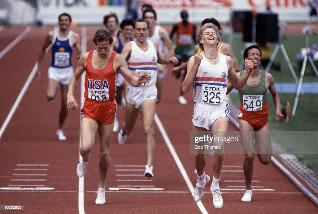 Steve Cram of Great Britain savours victory after beating Steve Scott of the USA and Said Aouita of Morocco in the men's 1500m final at the 1st World...
