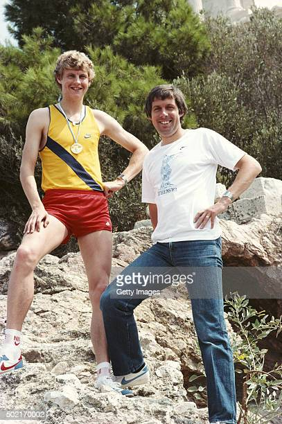 Steve Cram pictured with Brendan Foster and his Gold medal from the 1500 metres at the 1982 European Athletics Championships in Athens Greece