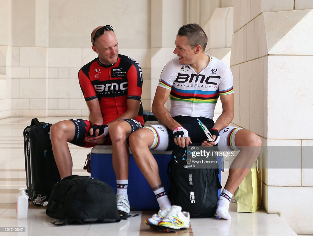 <a gi-track='captionPersonalityLinkClicked' href=/galleries/search?phrase=Steve+Cummings&family=editorial&specificpeople=227010 ng-click='$event.stopPropagation()'>Steve Cummings</a> (l) of Great Britain and the BMC Racing Team chats to World Road Race Champion <a gi-track='captionPersonalityLinkClicked' href=/galleries/search?phrase=Philippe+Gilbert&family=editorial&specificpeople=578487 ng-click='$event.stopPropagation()'>Philippe Gilbert</a> ahead of the start of stage five of the Tour of Oman from Al Alam Palace to the Ministry of Housing in Boshar on February 15, 2013 in Boshar, Oman.