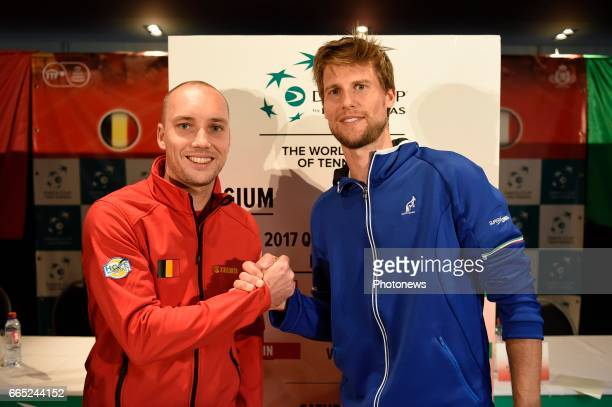 Steve darcis and Andreas Seppi pictured during the draw of Davis Cup World quarterfinal match between Belgium and Italy in the Spiroudome on april 7...