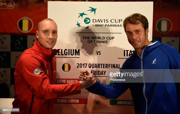Steve Darcis and Paolo Lorenzi pictured during the draw of Davis Cup World quarterfinal match between Belgium and Italy in the Spiroudome on april 7...
