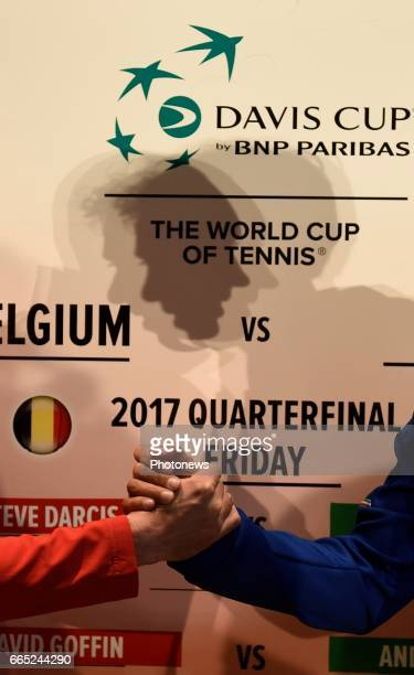 Steve Darcis and Paolo Lorenzi shadow pictured during the draw of Davis Cup World quarterfinal match between Belgium and Italy in the Spiroudome on...