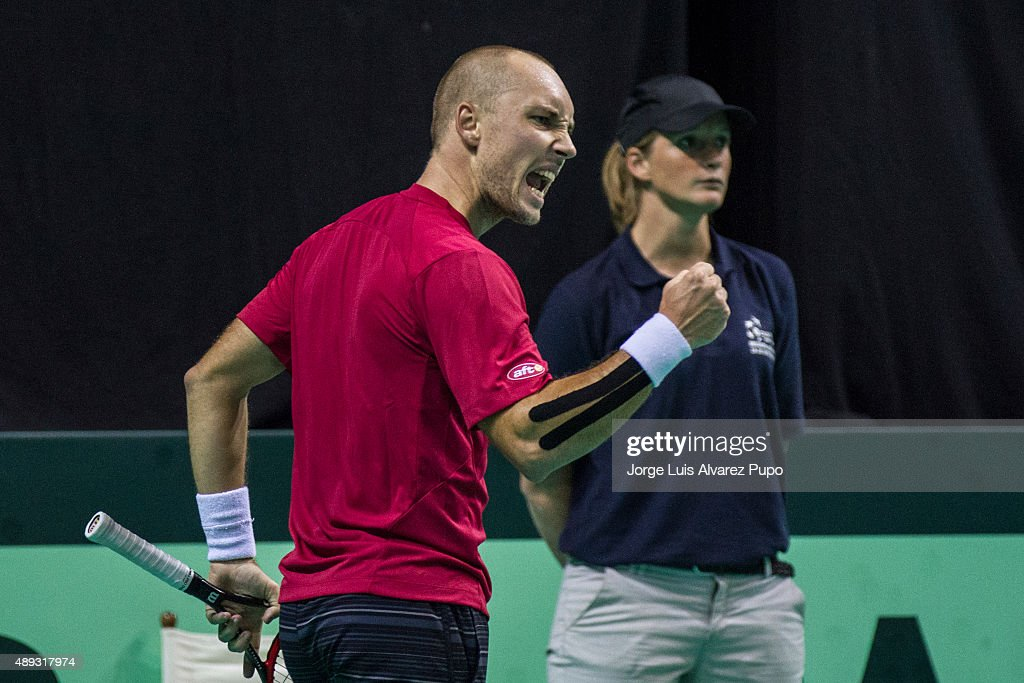 <a gi-track='captionPersonalityLinkClicked' href=/galleries/search?phrase=Steve+Darcis&family=editorial&specificpeople=4354952 ng-click='$event.stopPropagation()'>Steve Darcis</a> (BEL) celebrates during the singles match between <a gi-track='captionPersonalityLinkClicked' href=/galleries/search?phrase=Steve+Darcis&family=editorial&specificpeople=4354952 ng-click='$event.stopPropagation()'>Steve Darcis</a> of Belgium and Federico Delbonis of Argentina on Day 3 of The World Group Semi Final Davis Cup match between Belgium and Argentina at Forest National Stadium on September 20, 2015 in Brussels, Belgium.