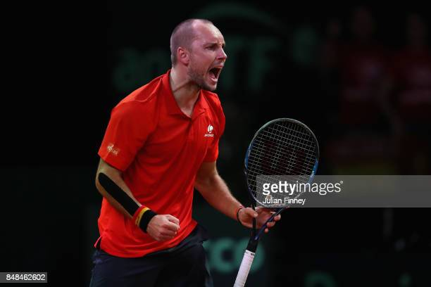 Steve Darcis of Belgium celebrates ater winning the second set against Jordan Thompson of Australia during day three of the Davis Cup World Group...