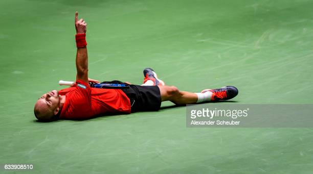 Steve Darcis of Belgium celebrates the victory against Alexander Zverev of Germany during day three of the Davis Cup World Group first round between...