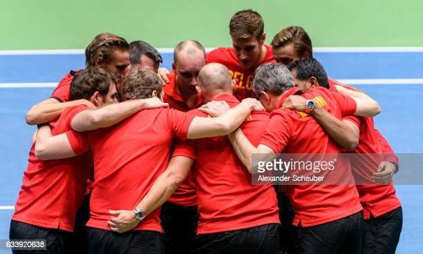 Steve Darcis of Belgium celebrates the victory with his teammates against Alexander Zverev of Germany during day three of the Davis Cup World Group...