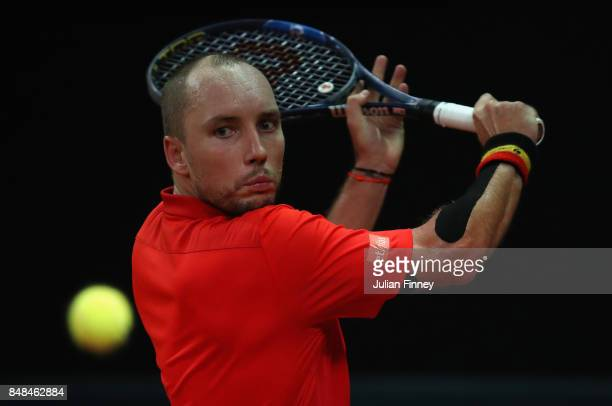 Steve Darcis of Belgium in action against Jordan Thompson of Australia during day three of the Davis Cup World Group semi final match between Belgium...