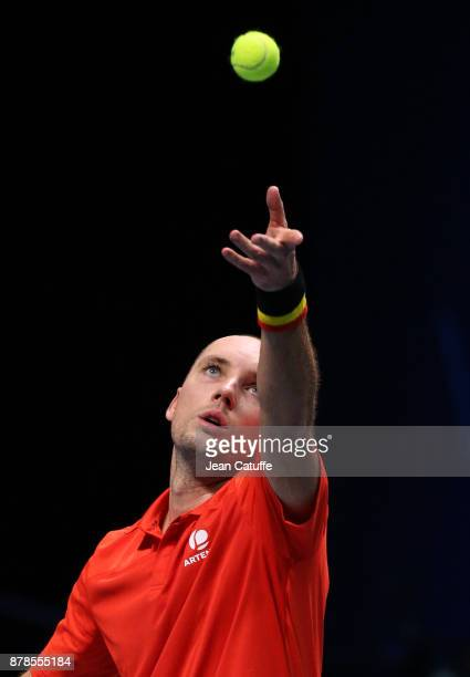 Steve Darcis of Belgium in action against JoWilfried Tsonga of France during day 1 of the Davis Cup World Group Final between France and Belgium at...