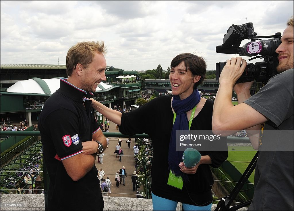 Steve Darcis of Belgium (L) is seen talking to Inge Van Meensel of Sporza, the day after his victory against Nadal on day one of Wimbledon on 25 June, 2013 in London, England.