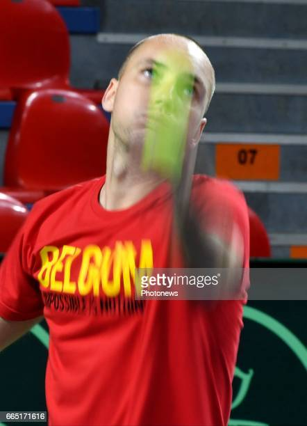 Steve Darcis of Belgium pictured during practice session before Davis Cup World quarterfinal match between Belgium and Italy in the Spiroudome on...