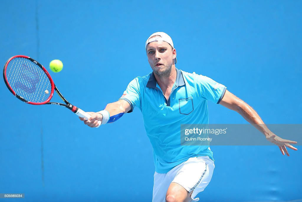 <a gi-track='captionPersonalityLinkClicked' href=/galleries/search?phrase=Steve+Darcis&family=editorial&specificpeople=4354952 ng-click='$event.stopPropagation()'>Steve Darcis</a> of Belgium plays a forehand in his first round match against Guido Pella of Argentina during day two of the 2016 Australian Open at Melbourne Park on January 19, 2016 in Melbourne, Australia.
