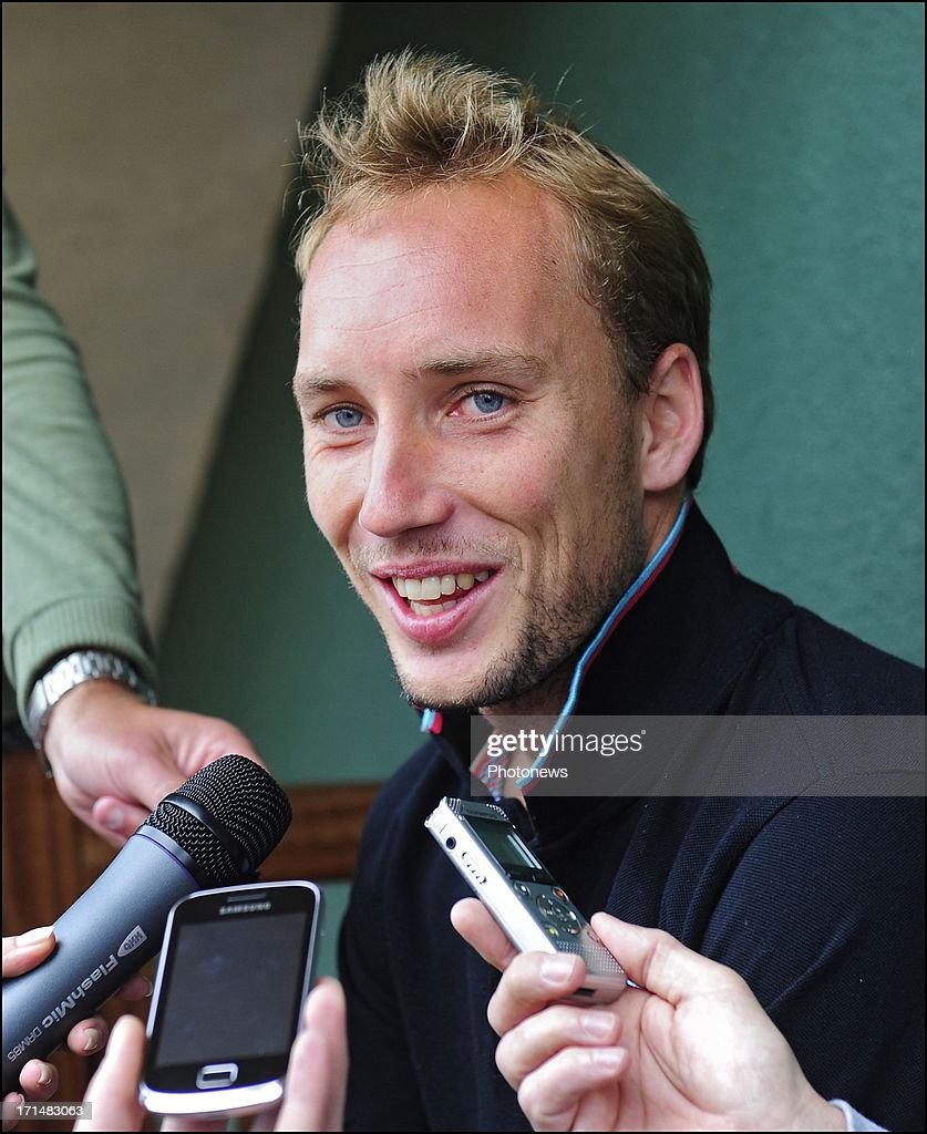 Steve Darcis of Belgium speaks to the press the day after his victory against Nadal on day one of Wimbledon on 25 June, 2013 in London, England.