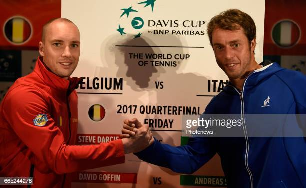 Steve Darcis Paolo Lorenzi pictured during the draw of Davis Cup World quarterfinal match between Belgium and Italy in the Spiroudome on april 7 till...