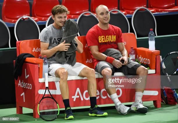 Steve Darcis with captain of Belgium Johan Van Herck pictured during practice session before Davis Cup World quarterfinal match between Belgium and...
