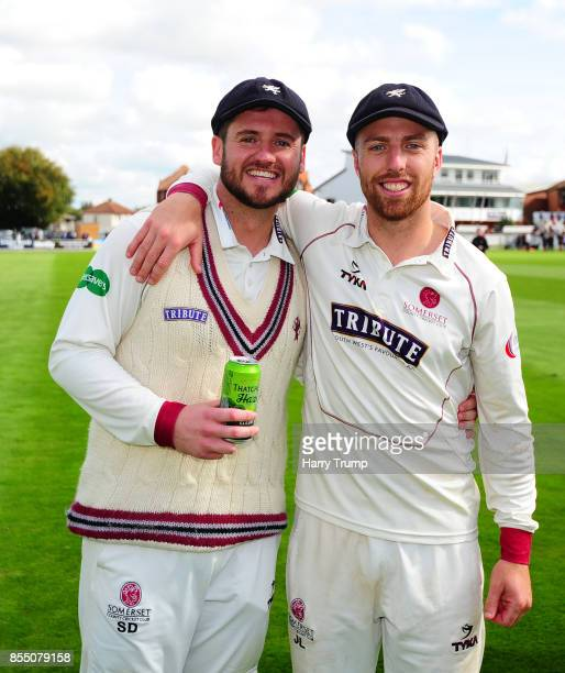 Steve Davies and Jack Leach of Somerset celebrate during Day Four of the Specsavers County Championship Division One match between Somerset and...
