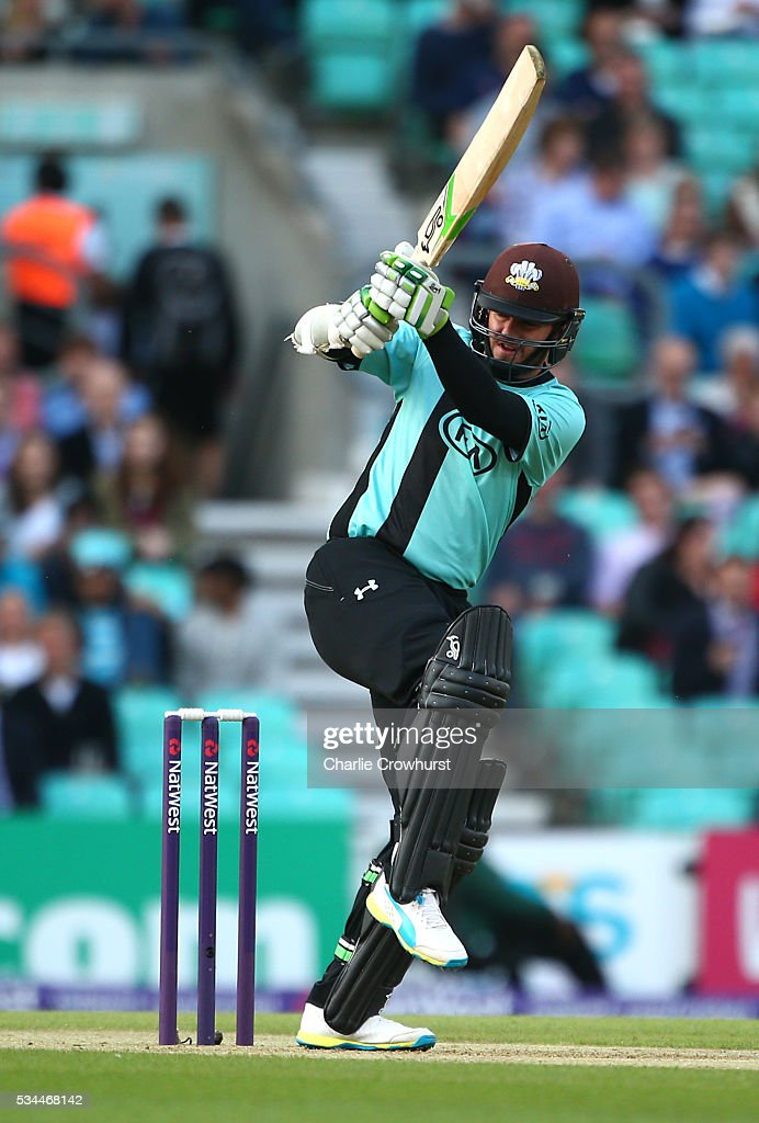 Steve Davies of Surrey hits out during the Natwest T20 Blast match between Surrey and Glamorgan at The Kia Oval on May 26, 2016 in London, England.