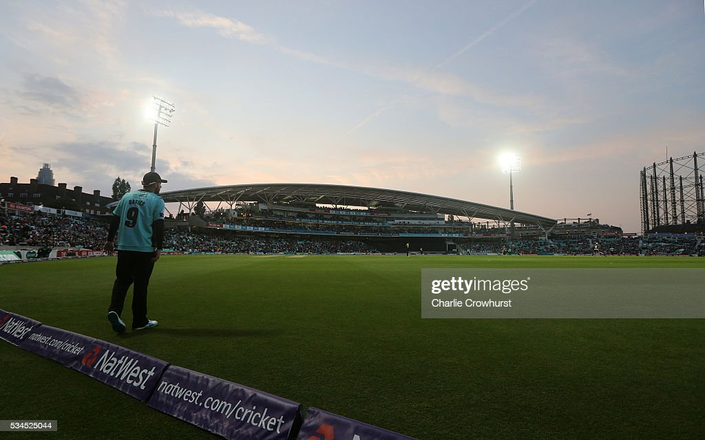 Steve Davies of Surrey tends the boundary during the Natwest T20 Blast match between Surrey and Glamorgan at The Kia Oval on May 26, 2016 in London, England.