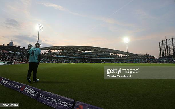 Steve Davies of Surrey tends the boundary during the Natwest T20 Blast match between Surrey and Glamorgan at The Kia Oval on May 26 2016 in London...