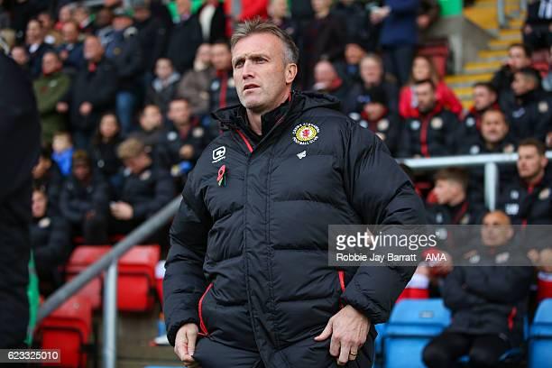 Steve Davis head coach / manager of Crewe Alexandra during the Sky Bet League Two match between Crewe Alexandra v Plymouth Argyle at The Alexandra...
