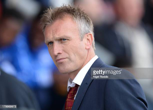 Steve Davis manager of Crewe Alexander watches during their Sky Bet League One match against Peterborough United at the Alexandra Stadium on...