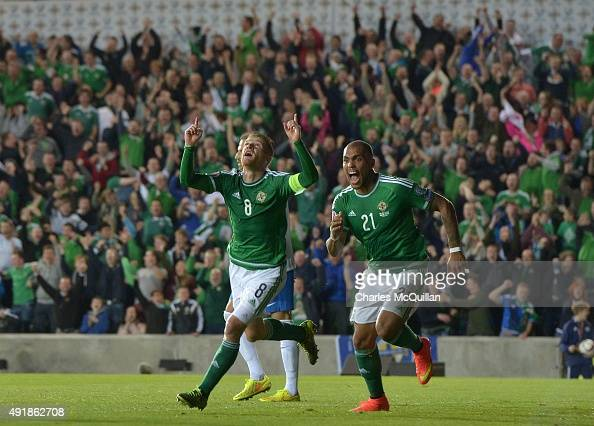 Steve Davis of Northern Ireland celebrates after scoring during the UEFA EURO 2016 qualifier between Northern Ireland and Greece at Windsor Park on...