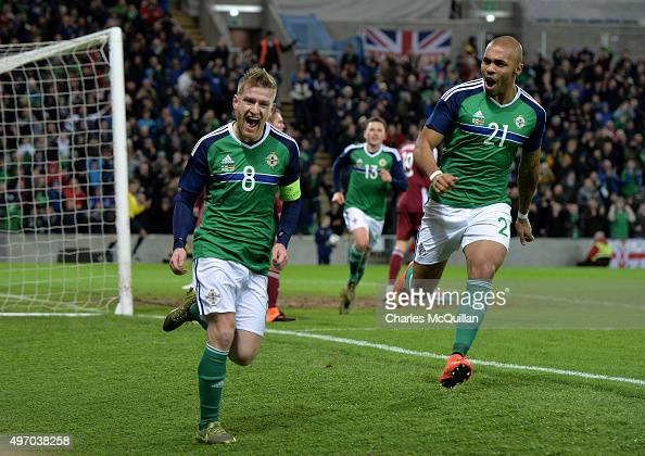 Steve Davis of Northern Ireland celebrates after scoring during the international football friendly match between Northern Ireland and Latvia at...