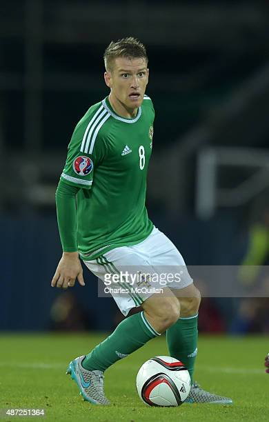 Steve Davis of Northern Ireland during the Euro 2016 Group F qualifying match against Hungary at Windsor Park on September 7 2015 in Belfast Northern...