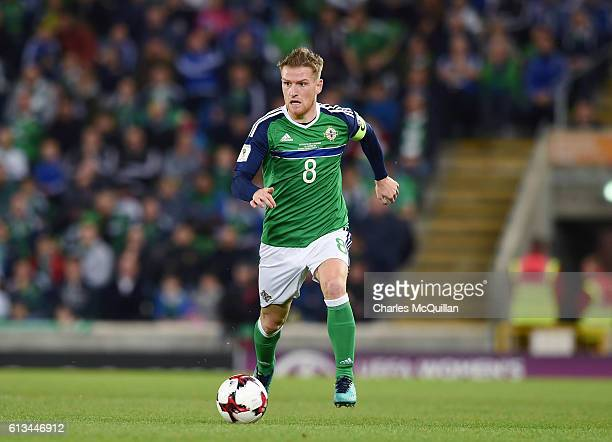 Steve Davis of Northern Ireland during the FIFA 2018 World Cup Qualifier between Northern Ireland and San Marino at Windsor Park on October 8 2016 in...