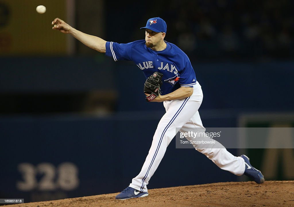 Steve Delabar #50 of the Toronto Blue Jays delivers a pitch during MLB game action against the Boston Red Sox on April 6, 2013 at Rogers Centre in Toronto, Ontario, Canada.