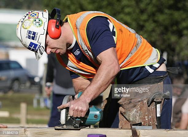 Steve Devine of the Auckland NPC Rugby Team helps construct a new deck at the teams training facility at Unitec as part of the Auckland NPC Team...