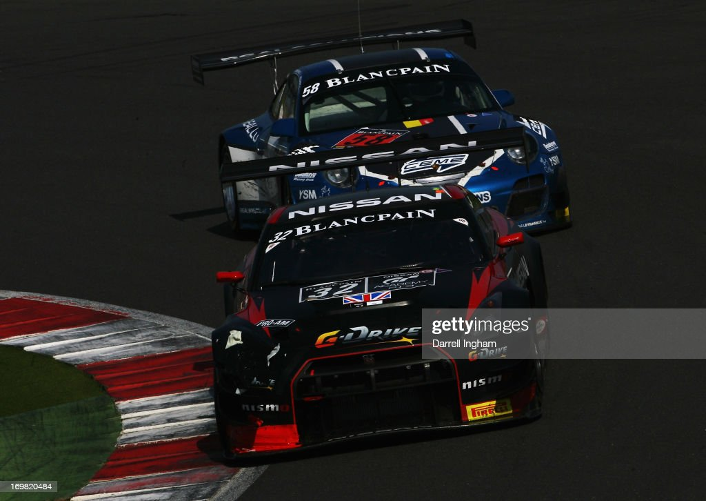 Steve Doherty of the United States drives the Nissan GT Academy Team RJN Nissan GTR Nismo GT3 during the Blancpain Endurance GT Series race at the...