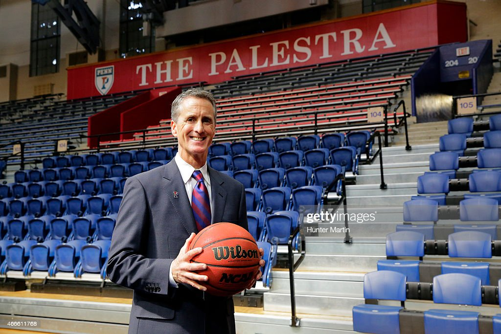 Steve Donahue poses for a photo after being introduced as the 20th head coach of men's basketball at the University of Pennsylvania at the Palestra...