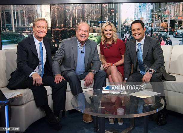 Steve Doocy actor Kelsey Grammer Elisabeth Hasselbeck and Brian Kilmeade pose onstage during the taping of 'Fox Friends' at FOX Studios on April 23...