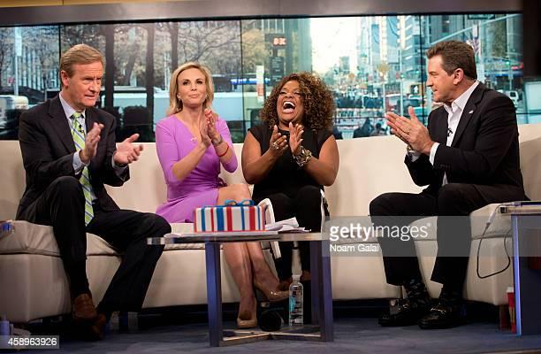 Steve Doocy Elisabeth Hasselbeck Sherri Shepherd and Eric Bolling speak on set as host Elisabeth Hasselbeck returns to FOX and Friends at FOX Studios...