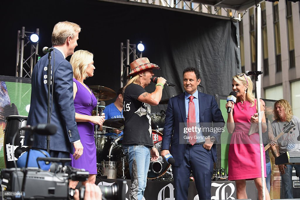Steve Doocy, Heather Nauert, singer Bret Michaels, Brian Kilmeade and Elisabeth Hasselbeck seen on stage at 'FOX & Friends' All American Concert Series outside of FOX Studios on July 10, 2015 in New York City.