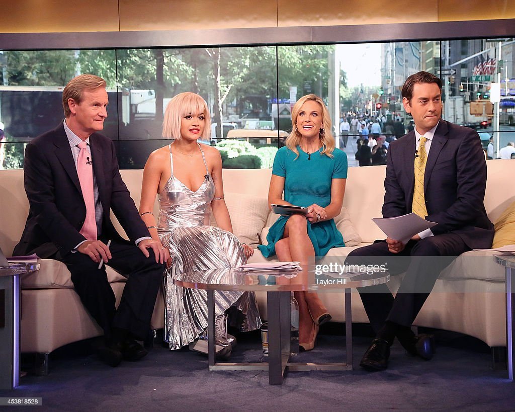 Steve Doocy, <a gi-track='captionPersonalityLinkClicked' href=/galleries/search?phrase=Rita+Ora&family=editorial&specificpeople=5686485 ng-click='$event.stopPropagation()'>Rita Ora</a>, <a gi-track='captionPersonalityLinkClicked' href=/galleries/search?phrase=Elisabeth+Hasselbeck&family=editorial&specificpeople=234656 ng-click='$event.stopPropagation()'>Elisabeth Hasselbeck</a>, and Clayton Morris chat as she visits 'Fox & Friends' at the FOX Studios on August 19, 2014 in New York City.