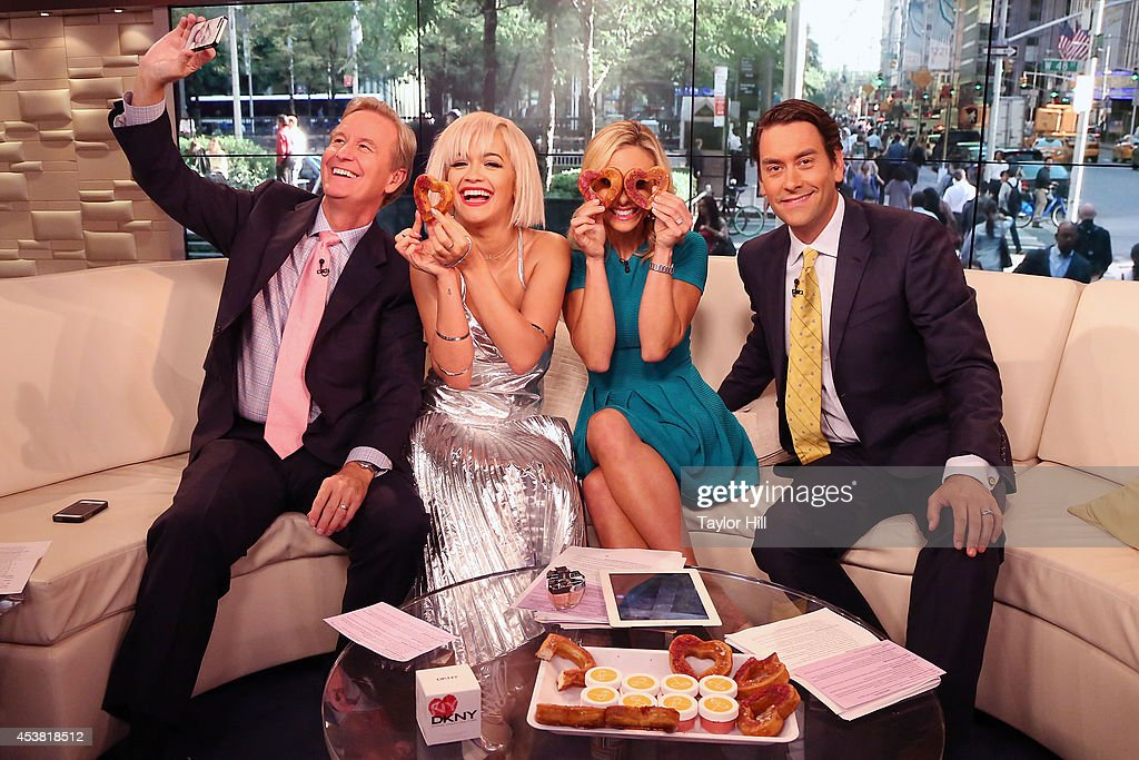 Steve Doocy, <a gi-track='captionPersonalityLinkClicked' href=/galleries/search?phrase=Rita+Ora&family=editorial&specificpeople=5686485 ng-click='$event.stopPropagation()'>Rita Ora</a>, <a gi-track='captionPersonalityLinkClicked' href=/galleries/search?phrase=Elisabeth+Hasselbeck&family=editorial&specificpeople=234656 ng-click='$event.stopPropagation()'>Elisabeth Hasselbeck</a>, and Clayton Morris have fun with heart-shaped cronuts from Dominique Ansel Bakery as she visits 'Fox & Friends' at the FOX Studios on August 19, 2014 in New York City.