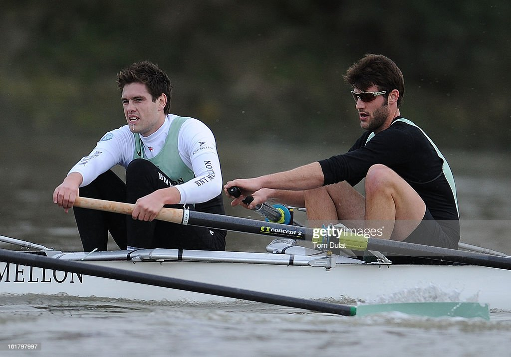 Steve Dudek (R) and Alexander Sharp (L) of The Cambridge team in action during the training race against University of Washington on the River Thames on February 16, 2013 in London, England.