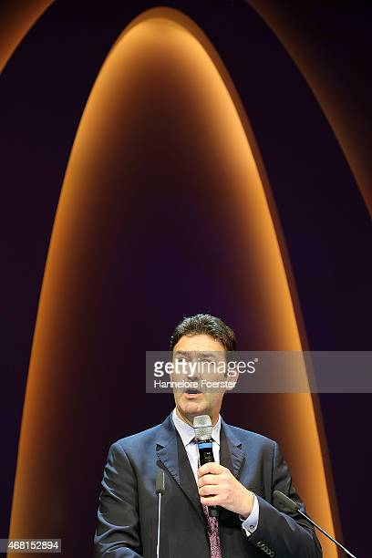 Steve Easterbrook CEO McDonald speaks during the reopening of the McDonald's Flagship Restaurant at Frankfurt International Airport Terminal 2 on...