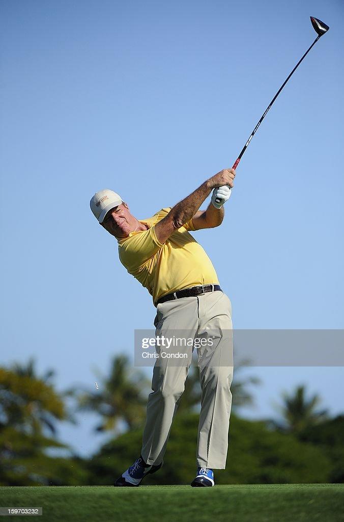 KA'UPULEHU-KONA, HI - JANUARY 18: Steve Elkington of Australia plays from the second tee during the first round of the Mitsubishi Electric Championship at Hualalai Golf Club on January 18, 2013 in Ka'upulehu-Kona, Hawaii.