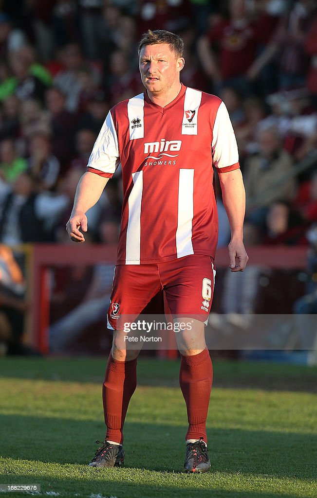 Steve Elliott of Cheltenham Town in action during the npower League Two Play Off Semi Final Second Leg between Cheltenham Town and Northampton Town at Abbey Business Stadium on May 5, 2013 in Cheltenham, England.