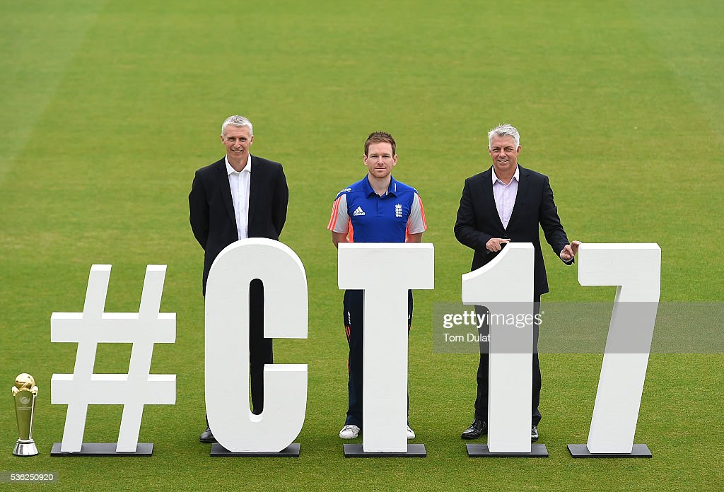 Steve Elworthy ECB Director Global Events Eoin Morgan England's ODI Captain and David Richardson ICC Chief Executive pose for photographs during the...
