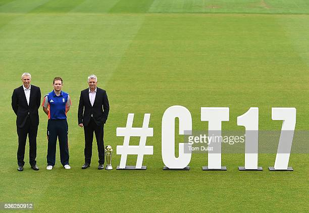Steve Elworthy ECB Director Global EventsEoin Morgan England's ODI Captain and David Richardson ICC Chief Executive pose for photographs during the...